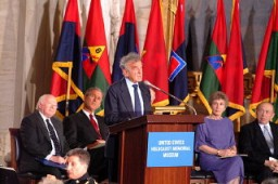 <p>Elie Wiesel speaks at the Days of Remembrance ceremony, Washington, DC, 2001.</p>