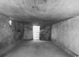 <p>Interior of a gas chamber at the Majdanek camp. Majdanek, Poland, after July 24, 1944.</p>