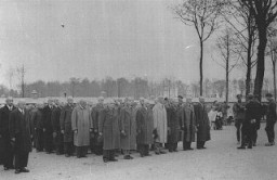 <p>Newly arrived prisoners at the Buchenwald concentration camp. Buchenwald, Germany, 1938-1940.</p>