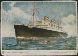 """<p>A postcard of the SS <em>St. Louis.</em> May 1939.</p> <p>The plight of German-Jewish refugees, persecuted at home and unwanted abroad, is illustrated by the May 13, 1939, <a href=""""/narrative/4719/en"""">voyage of the SS <em>St. Louis</em>.</a></p>"""