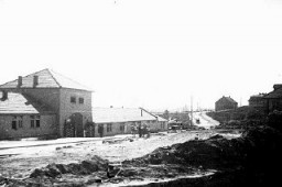 <p>View of part of the Plaszow concentration camp in occupied Poland, showing an entrance gate. Plaszow, Poland, 1943-1944.</p>