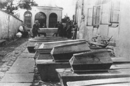"""<p>Coffins containing bodies of Jews killed in the <a href=""""/narrative/11504/en"""">Kielce pogrom</a>. Poland, July 6, 1946.</p> <p>The mass violence of the Kielce pogrom drew on an entrenched local history of antisemitism–especially false allegations accusing Jews of using the blood of Christian children for ritual purposes (a charge known as a """"blood libel"""")–with the intent of discouraging the return of Jewish Holocaust survivors to Poland.</p>"""