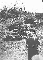 "<p>This photograph shows the aftermath of a shooting along the banks of the <a href=""/narrative/3516/en"">Danube River</a> in <a href=""/narrative/4669/en"">Budapest</a>. Members of the pro-German Arrow Cross party massacred thousands of Jews along the banks of the Danube. Budapest, Hungary, 1944.</p>"