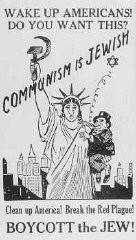 <p>سام دشمنی پر مبنی ایک پوسٹر جس میں یہودیوں کو کمیونسٹوں کے برابر قرار دیا گیا۔ امریکہ 1939۔</p>