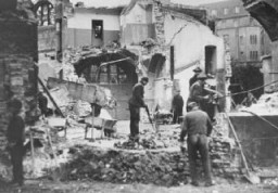 "<p>Destruction of the Dortmund synagogue during Kristallnacht (the ""Night of Broken Glass""). Germany, November 1938.</p>"