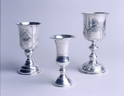 <p>Goblets used in Shanghai by the Caspary family for blessings (Kiddush) over wine on the Sabbath or Jewish holidays. The Orthodox Casparys ran a kosher restaurant frequented by yeshiva students from Poland. [From the USHMM special exhibition Flight and Rescue.]</p>