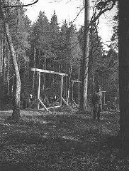 "<p class=""document-desc moreless"">An SS officer standing in front of a newly constructed gallows in the forest near Buchenwald concentration camp. Buchenwald, Germany, April 1942. </p>"