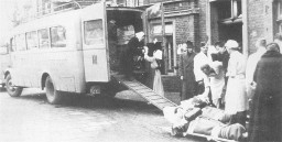 "<p>Psychiatric patients are evacuated to clinics where they will be murdered as part of the Nazi <a href=""/narrative/4032"">Euthanasia Program</a>. Photo taken in Germany and dated circa 1942–1944.</p>