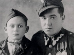Thomas Buergenthal with the soldier who realized that Thomas was Jewish and took him to an orphanage