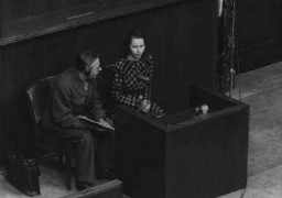 "<p>Wladislava Karolewska, a victim of medical experiments at the <a href=""/narrative/4015/en"">Ravensbrück</a> camp, was one of four Polish women who appeared as prosecution witnesses at the <a href=""/narrative/9245/en"">Doctors Trial</a>. Nuremberg, Germany, December 22, 1946.</p>"