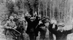 SS troops lead a group of Poles into a forest for execution
