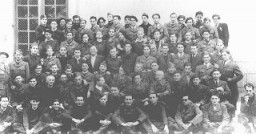 "<p>Group portrait of a Jewish French underground group named ""Compagnie Reiman."" This photograph was taken after the liberation of France. Paris, France, 1945.</p>"