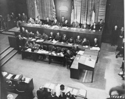 View of the judges' bench at the opening session of the International Military Tribunal trial of war criminals at Nuremberg.