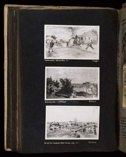 Beifeld album page illustrating fortifications and first fatality