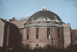 "<p>View of the Prinzregenten Street synagogue. It was destroyed by fire during the <a href=""/narrative/4063/en""><em>Kristallnacht</em> </a>(""Night of Broken Glass"") pogrom. Berlin, Germany, November 9-10, 1938.</p>"