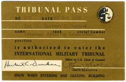 <p>Entry pass to the court building at the International Military Tribunal. This pass was issued to a U.S. military guard.</p>