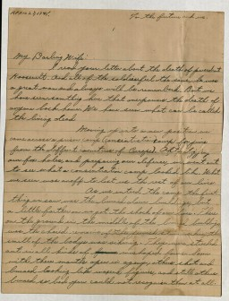 "<p>Aaron A. Eiferman, a member of the <a href=""/narrative/8066"">12th Armored Division</a>, wrote this letter to his wife in the United States. Writing ""We have seen what can be called the living dead,"" he describes his experiences as the 12th overran a Dachau subcamp in the Landsberg area on April 27, 1945.</p>"