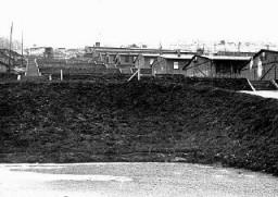 Vue de baraques dans le camp de Natzweiler, qui constituait une partie du camp de concentration de Natzweiler-Struthof.