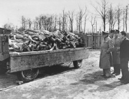 "<p>American radio journalists view corpses in the <a href=""/narrative/3956"">Buchenwald</a> concentration camp. This photograph was taken after the <a href=""/narrative/2317"">liberation</a> of the camp. Germany, April 18, 1945.</p>