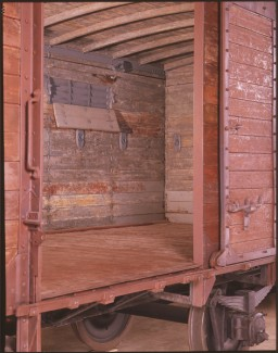 <p>Many different kinds of railway cars were used for deportations. They varied in size and weight. The railway car on display in the United States Holocaust Memorial Museum's Permanent Exhibition is of just one type used. The dimensions of the railway car in the Museum's exhibition are as follows: Total length 31 feet 6 inches (9.6 meters); interior space for deportees 26 feet 2 inches (8 meters). Total height 14 feet (4.3 meters) from the bottom of the wheel to the highest point of the car; interior space for deportees (ceiling curves down from the middle): 7 feet 4 inches (2.2 meters ) at the center; 7 feet (2.1 meters) at the sides. Total width 13 feet 2 inches (4 meters, including the roofing); interior space for deportees: 8 feet 10 inches (2.7 meters).</p>