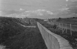"<p>A view of the Maginot Line, a French defensive wall built after <a href=""/narrative/28/en"">World War I</a>. It was intended to deter a German invasion. France, 1940.</p>"