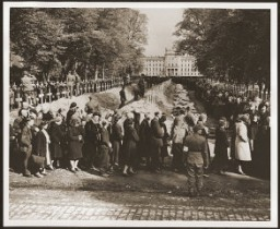 "<p>German civilians from Ludwigslust file past the corpses and graves of 200 prisoners from the nearby concentration camp of <a href=""/narrative/7988/en"">Wöbbelin</a>. The US Army ordered the townspeople to bury the corpses on the palace grounds of the Archduke of Mecklenburg. Germany, May 7, 1945.</p>