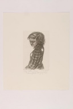 "<p>This image shows a print of a portrait drawing by artist <a href=""/narrative/58633"">Esther Lurie</a>. Lurie documented scenes of life in the <a href=""/narrative/3182"">Kovno</a> ghetto and contributed to the secret archives there.</p>