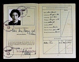 "German passport issued to Alice ""Sara"" Mayer (inside) [LCID: 1998oi1z]"