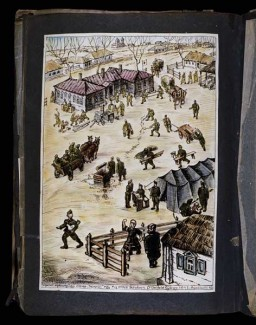 <p>Watercolor depicting Hungarian soldiers from a medical unit moving into a Russian village and setting up operations, April 10, 1943. [Photograph #58122]</p>