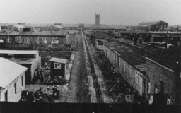 "<p>View of the Neuengamme concentration camp. Prisoners stand behind the fence that separates the ""protective custody"" camp from the manufacturing sectors of the camp. In the distance are the crematorium and the Walther armaments works. Photograph taken between 1940 and 1945, Neuengamme, Germany. </p>