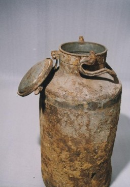 <p>One of the two milk cans in which portions of the Ringelblum Oneg Shabbat archives were hidden and buried in the Warsaw ghetto. The milk cans are currently in the possession of the Jewish Historical Institute in Warsaw.</p>