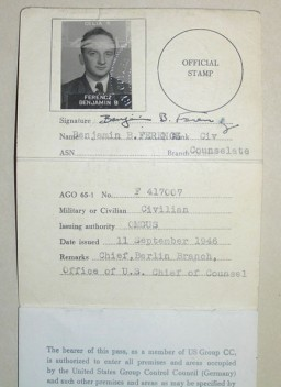 "<p>Pass issued to <a href=""/narrative/10039"">Benjamin Ferencz</a>, war crimes investigator and later chief prosecutor in the Einsatzgruppen Trial. This pass granted the bearer free movement within the US-occupied zone of postwar Germany.</p>"