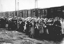 <p>Juifs déportés du ghetto de Varsovie se rendant vers les trains de marchandise. Varsovie, Pologne, juillet-septembre 1942.</p>