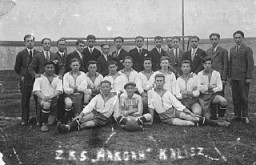 "<p>A soccer team of the Jewish sports club, <em>Ha-koach</em> (The Strength). <a href=""/narrative/7584"">Kalisz</a>, Poland, ca. 1933.</p>"