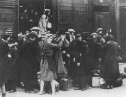 A transport of Jews from Hungary arrives at Auschwitz-Birkenau. [LCID: 77354]