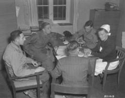 War crimes investigators interrogate Irmgard Huber