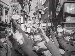 <p>In an attempt to prevent the German annexation of Austria, Austrian chancellor Kurt von Schusnigg proposed a plebiscite on Austrian independence. This German newsreel footage shows pro-German residents of Graz expressing their opposition to the plebiscite. On the following day, March 13, 1938, the residents of Graz and other Austrian cities celebrated the resignation of the Austrian government and the proclamation of union with Germany (the Anschluss).</p>
