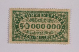 Postage stamp, 50 million mark, issued in Germany during hyperinflation in the Weimar Republic