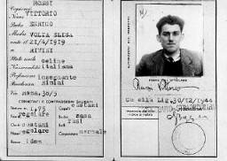 <p>Documento de identidad falso del partisano judío Vittorio Finzi, emitido a nombre de Vittorio Rossi. Italia, durante la guerra.</p>