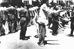 Humiliation publique des Juifs sur la Place de la Liberté lors de l'inscription obligatoire pour le travail forcé.