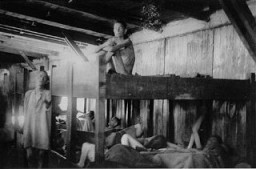 <p>Emaciated survivors of the Mauthausen concentration camp soon after the liberation of the camp. Austria, May 1945.</p>