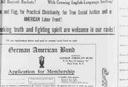 """Demandes d'inscription au Parti nommé le """"German-American Bund"""", un parti américain pro-nazi."""