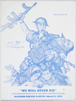 "<p>The program cover for ""<a href=""/narrative/9262"">We Will Never Die</a>"" featured <a href=""/narrative/7579"">Arthur Szyk</a>'s ""Tears of Rage"" artwork. The cover's original dimensions are: 12 1/16"" x 9 1/16"" x 3/16.</p>"