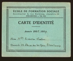 <p>After adopting a new identity in late 1943, Simone Weil falsified her student card from the year 1938-1939 to bear her assumed name, Simone Werlin. The card verified enrollment in the School of Social Work in Strasbourg. Using forged and falsified documents, Weil was able to move to Chateauroux, France, and establish an operation to rescue Jewish children as a member of the relief and rescue organization Oeuvre de Secours aux Enfants (Children's Aid Society; OSE).</p>
