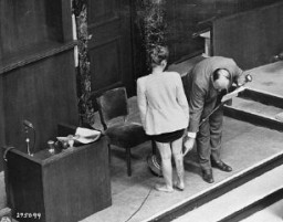 """<p>Concentration camp survivor Jadwiga Dzido shows her scarred leg to the Nuremberg court, while an expert medical witness explains the nature of the procedures inflicted on her in the <a href=""""/narrative/4015/en"""">Ravensbrück</a> concentration camp on November 22, 1942. The <a href=""""/narrative/3000/en"""">experiments</a>, including injections of highly potent bacteria, were performed by defendants <a href=""""/narrative/22000/en"""">Herta Oberheuser</a> and Fritz Ernst Fischer. December 20, 1946.</p>"""