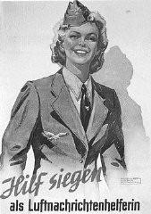 Affiche de recrutement nazie appelant les femmes allemandes à s'engager dans la défense aérienne.