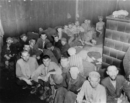 <p>Camp survivors crowded in barracks at liberation. Dachau, Germany, April 29-May 1, 1945.</p>