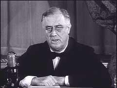 "<p>Although constrained by powerful isolationist sentiment in the United States, President Roosevelt was determined to help democratic Great Britain continue the war against Nazi Germany. Even as he promised to keep the United States neutral in the European war, Roosevelt ordered the expansion of military construction and pledged--as shown in this footage--that the United States would serve as the ""great arsenal of democracy."" In March 1941, Congress approved Lend-Lease aid for Britain. Britain ultimately received over 31 billion dollars in military aid from the United states. The United States finally entered World War II after the Japanese surprise attack on Pearl Habor on December 7, 1941.</p>"