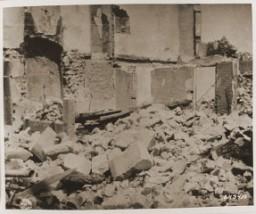"<p>The ruins of <a href=""/narrative/11405/en"">Oradour-sur-Glane</a>, destroyed by the SS on June 10, 1944. Oradour-sur-Glane, France, photograph taken in September 1944.</p>"
