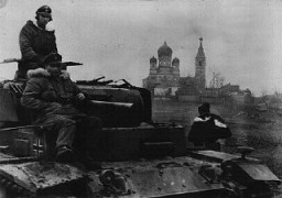 "<p>German soldiers in the Soviet Union during a December 1943 Soviet offensive on the eastern front. German troops <a href=""/narrative/2972"">invaded Soviet territory</a> in June 1941 but faced counteroffensives following the battle of Stalingrad. December 16, 1943.</p>"